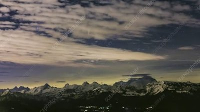 Mont Blanc at night, timelapse