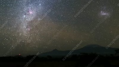 Milky Way and Mt Kilimanjaro, timelapse