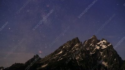 Night sky over Tetons, timelapse