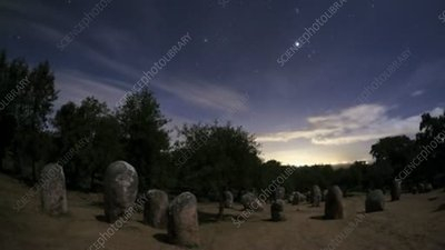 Almendres Cromlech at night, timelapse