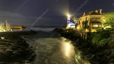 Cascais lighthouse star trails and tide