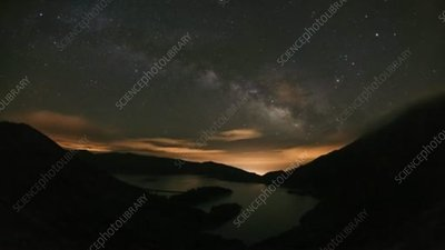 Night sky over lake, timelapse