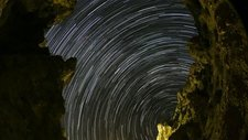 Star trails from a gorge