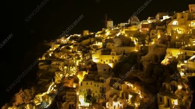 Oia, Santorini, at night
