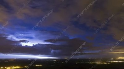 Thunderstorm at night, timelapse