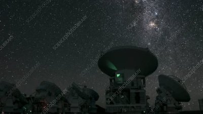 ALMA telescopes and Milky Way, timelapse