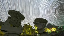 Star trails over ALMA telescopes