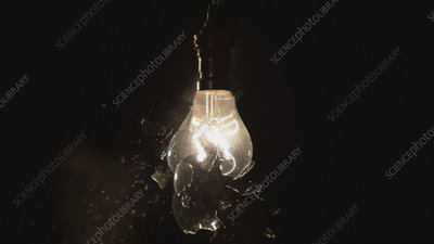 Light bulb shattering, high-speed footage