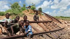 Railway washed away by flooding, Malawi