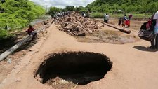 Flood-damaged road near Phalombe, Malawi