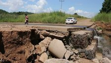 Bridge damaged by flooding, Malawi