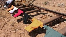 Clothes drying on washed away rails