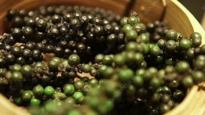 Black and green peppercorns