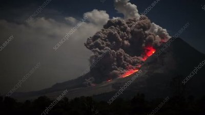 Pyroclastic flow on Mount Sinabung volcano