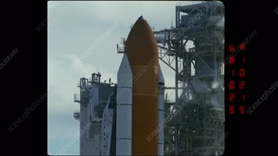 Space Shuttle launch, high-speed footage