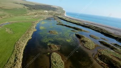 Cuckmere Haven estuary and beaches, aerial footage