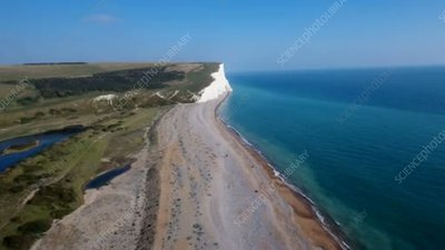 Cuckmere Haven beaches and cliffs, aerial footage
