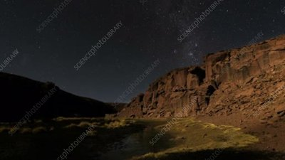 Star trails over canyon in Chile, time-exposure footage