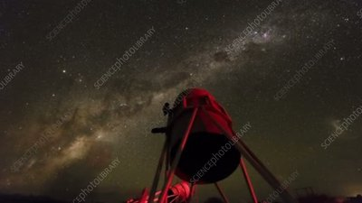 Stargazer observing the Milky Way, time-lapse footage