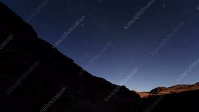 Moonrise at a canyon in Chile, time-lapse footage