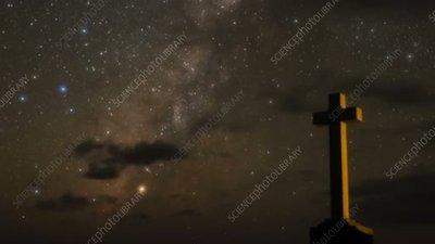 Milky Way with cross, time-lapse footage