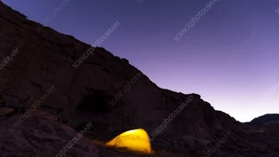 Camping in a canyon in Chile, time-lapse footage