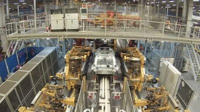 Car manufacturing, time-lapse footage