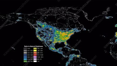 Global night-time light pollution, animation