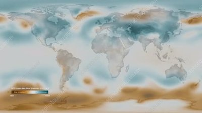 Global mean sea level pressure, animation