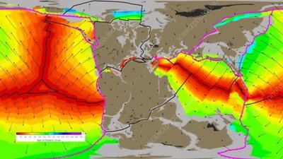 Tectonic plate movements over 200 million years, animation
