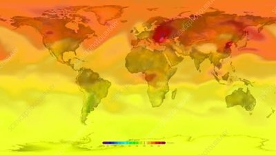 Global tropospheric carbon levels, 2000-2015, animation