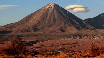 Licancabur volcano at sunset, time-lapse footage