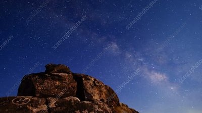 Milky Way over rock art in California, time-lapse footage