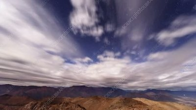 Clouds at night over Andean mountains, time-lapse footage
