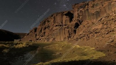 Night-to-morning time-lapse over canyon, Chile