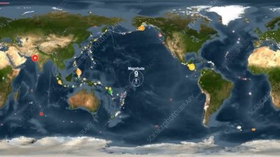 Global earthquakes from 2001 to 2015, animation