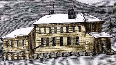 Newfoundland Telegraph House in the 1850s, rostrum footage
