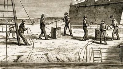 Underwater construction in the 1850s, rostrum footage