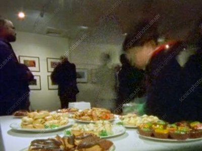 Buffet table at an art gallery, time-lapse footage