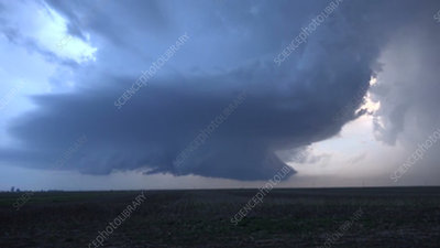 Supercell thunderstorm, Kansas, USA, time-lapse footage