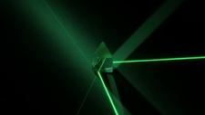 Rotating prism with coloured lasers