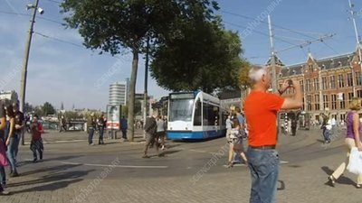 Amsterdam crowds and trams, timelapse