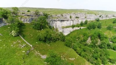 Malham Cove limestone cliffs, drone footage