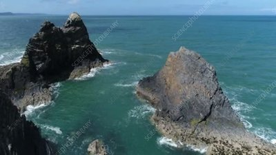 Sea stacks at Ceibwr Bay, drone footage
