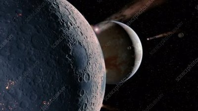 Impacts on young alien planet and moons