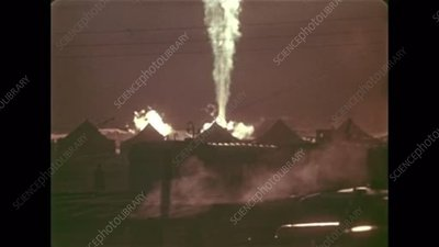 Uncontrollable fire at the Urta-Bulak gas well, 1966