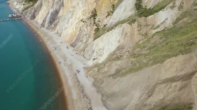 Cliffs at Alum Bay, Isle of Wight, aerial
