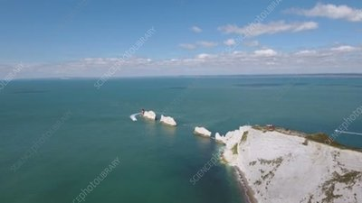 The Needles sea stacks, aerial
