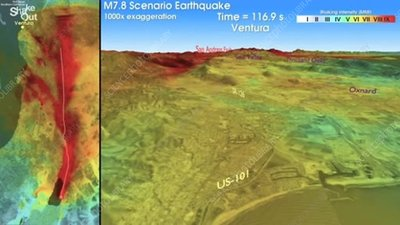 San Andreas Fault earthquake, ground shaking simulation