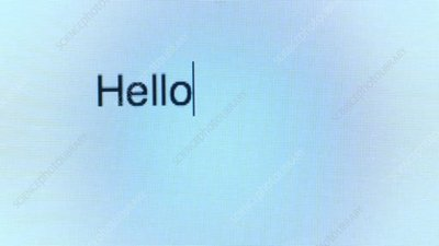 Typing hello on a computer